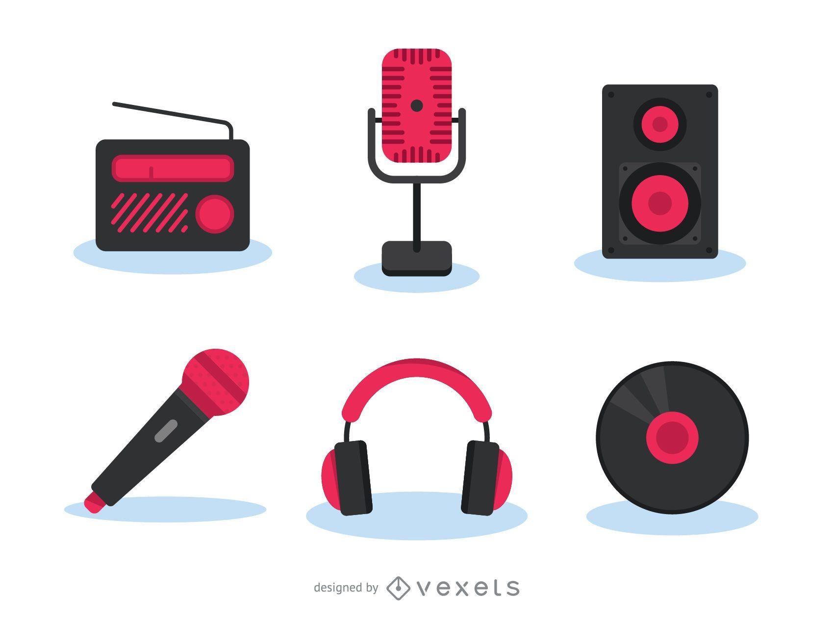Music gadgets icon set