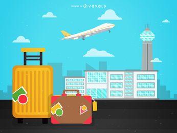 Ilustración de viaje al aeropuerto