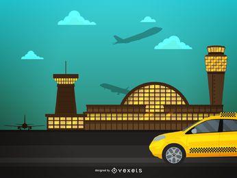 Ilustración de aeropuerto y taxi