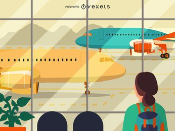 Flat airport terminal illustration