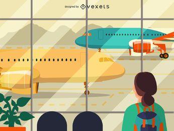 Ilustração do terminal de aeroporto plana