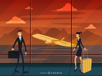 Ilustración de viaje terminal de aeropuerto