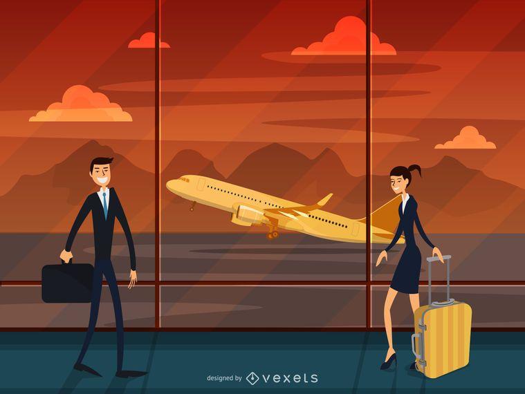 Airport terminal travel illustration