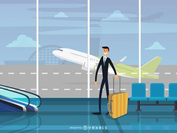 Homem, em, aeroporto, terminal, ilustração