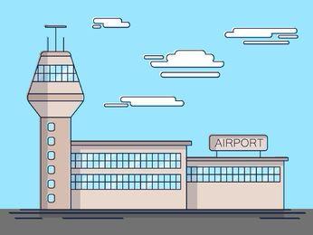 Ilustración simple del aeropuerto