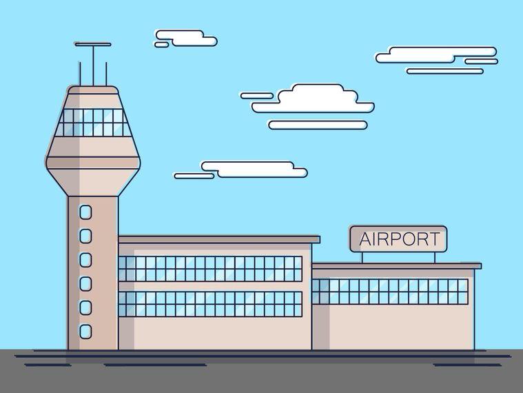 Ilustração simples do aeroporto