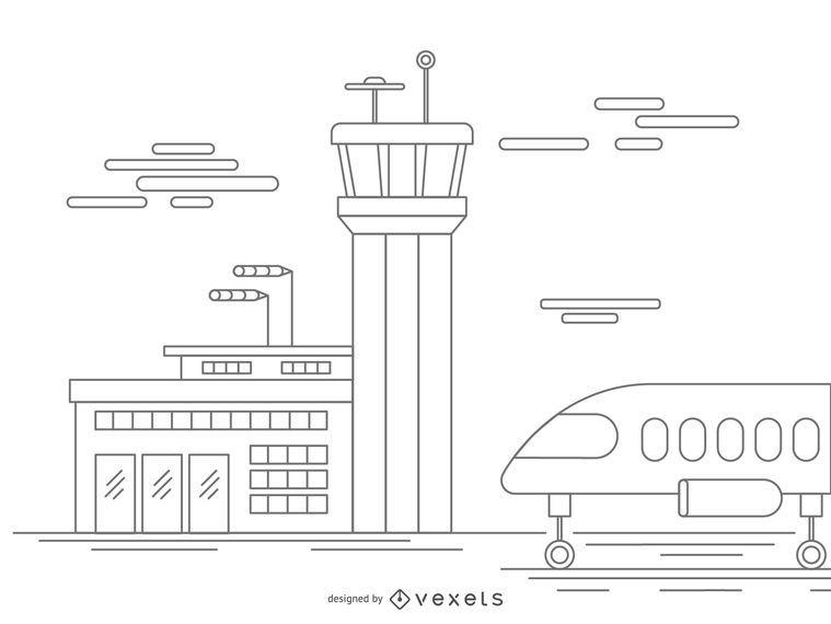 Airport stroke illustration