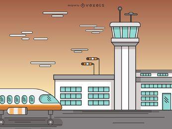 Airport terminal cartoon