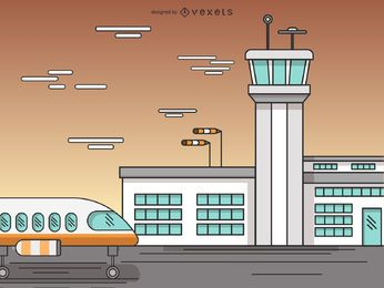 Dibujos animados de la terminal del aeropuerto