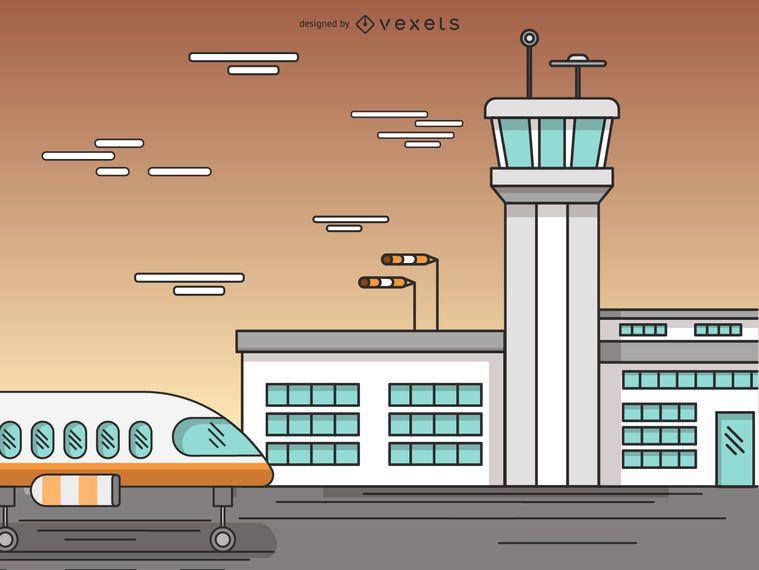 Desenhos animados de terminal de aeroporto