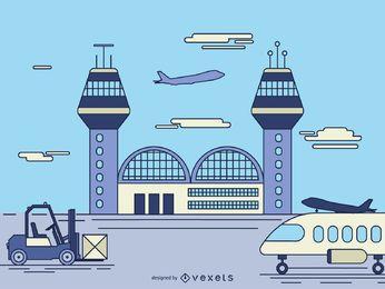 Ilustración de dibujos animados de las instalaciones del aeropuerto