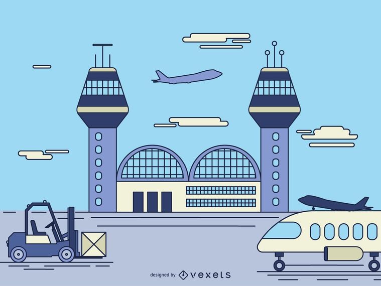 Airport facility cartoon illustration