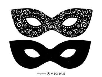 Set of masquerade mask illustrations