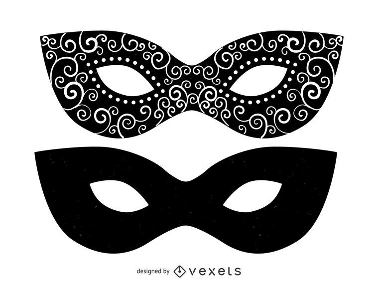 Conjunto de ilustrações de máscara de baile de máscaras