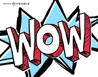 Ilustración de dibujos animados de expresión wow