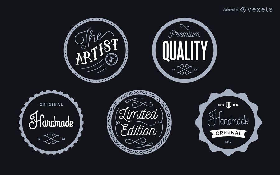 Conjunto de emblemas de rótulo vintage