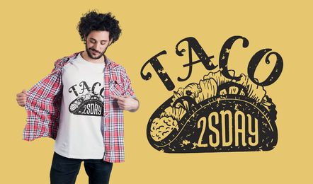 Diseño de camiseta Taco Tuesday
