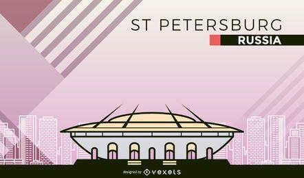 Dibujos animados del estadio de fútbol de San Petersburgo