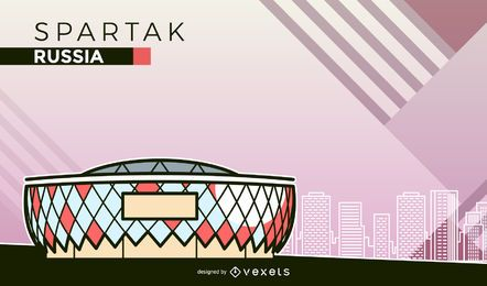 Spartak Moscow football stadium cartoon