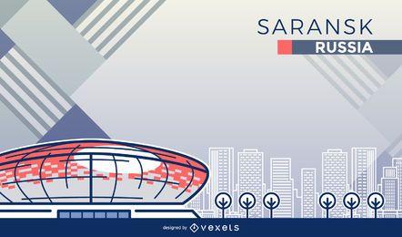 Dibujos animados del estadio de fútbol de Saransk