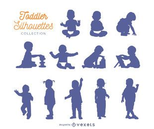 Coleção de silhuetas de criança