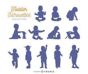 Colección de siluetas para niños pequeños