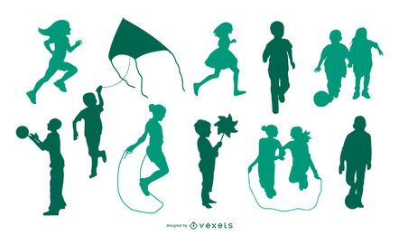 Children playing silhouette set