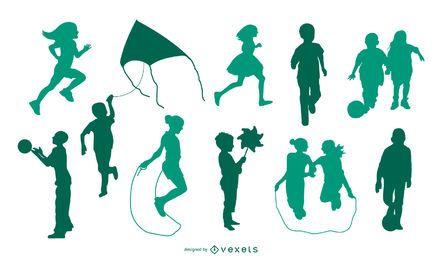 Kinder spielen Silhouette Set
