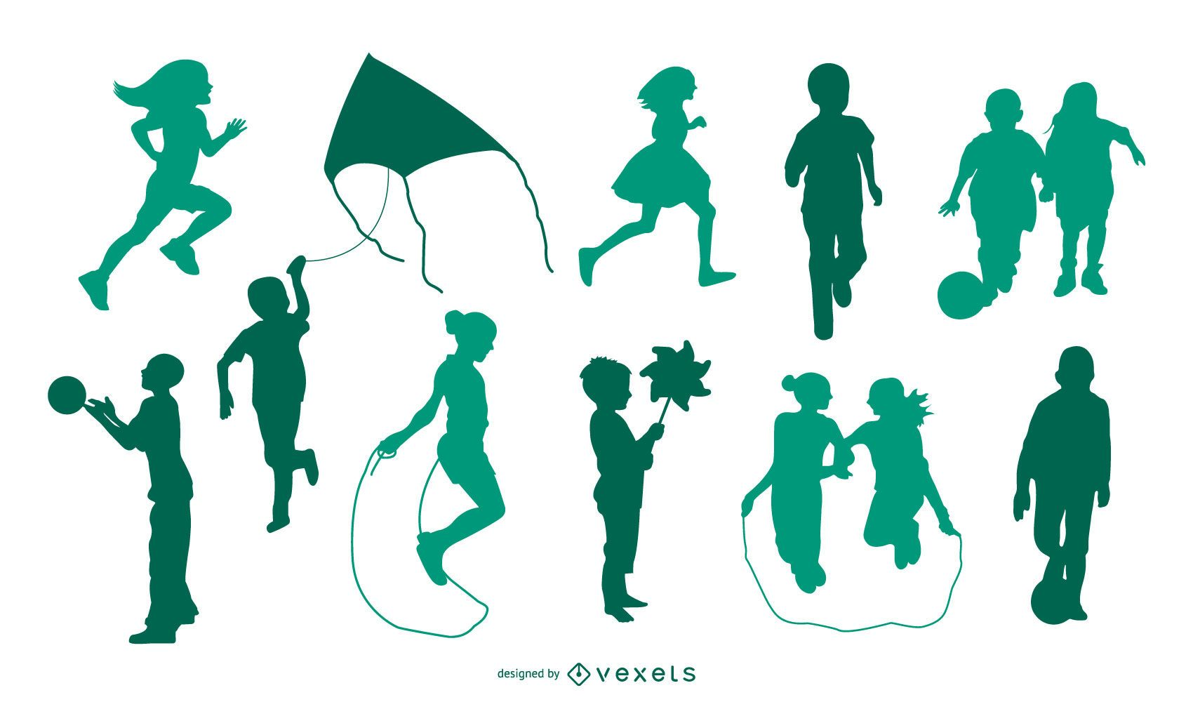 Children playing silhouette set