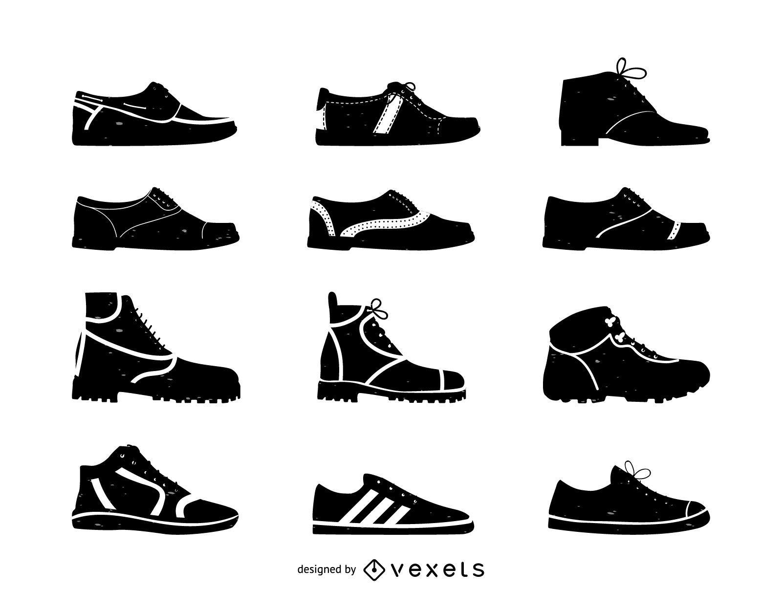 Conjunto de ícones planos de sapatos masculinos