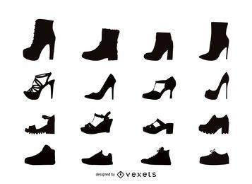 Sapatos femininos conjunto de ícones plana