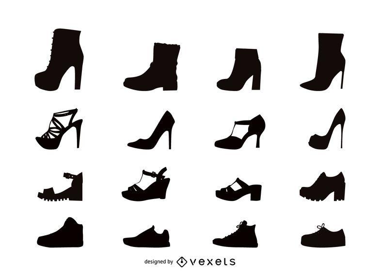 Women shoes flat icon set
