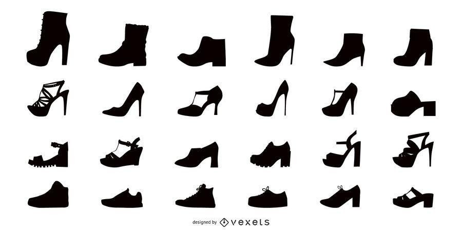 Conjunto de iconos planos de zapatos de mujer