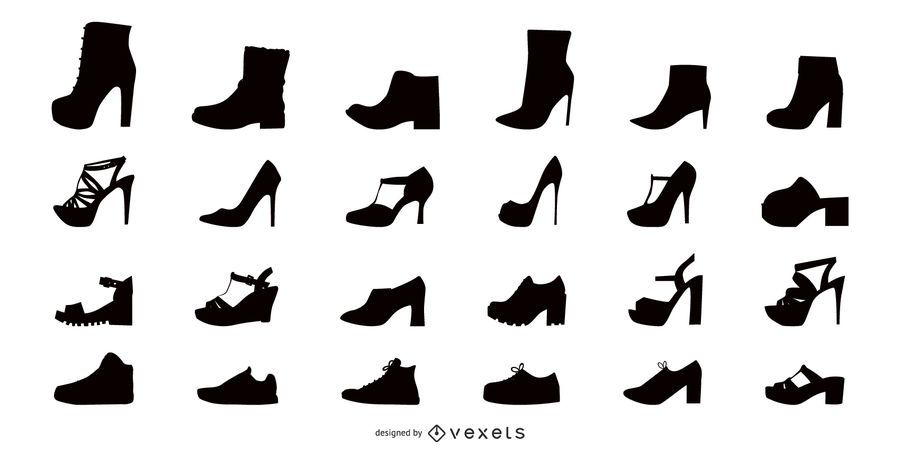 Women shoes flat icon set