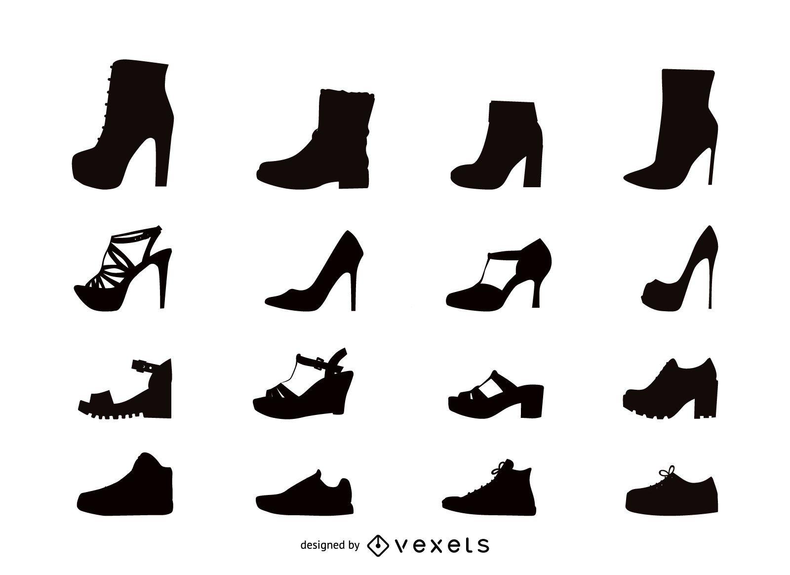 cb54cfe57eb Conjunto de iconos planos de zapatos de mujer - Descargar vector