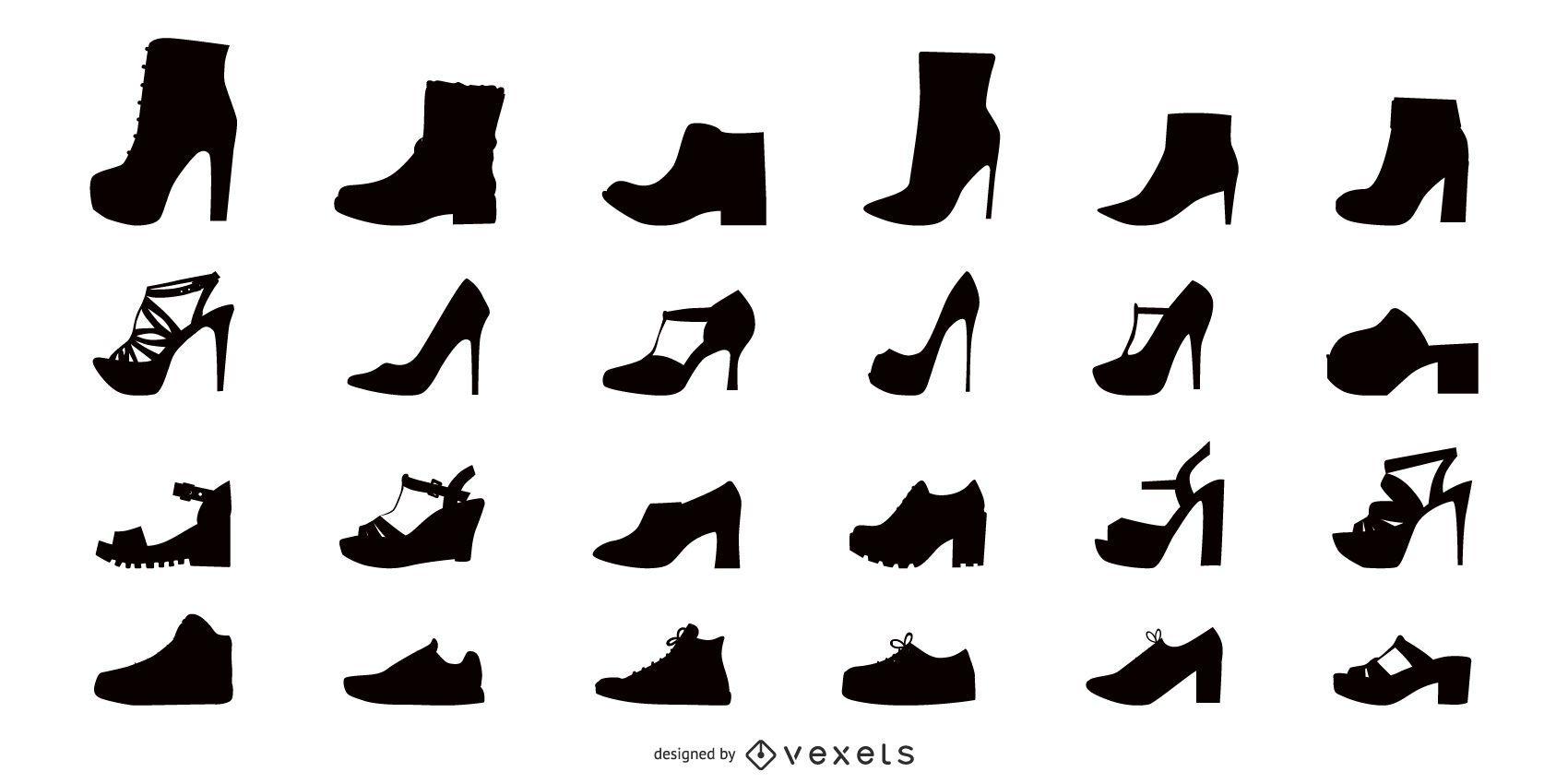 Conjunto de ícones planos de sapatos femininos