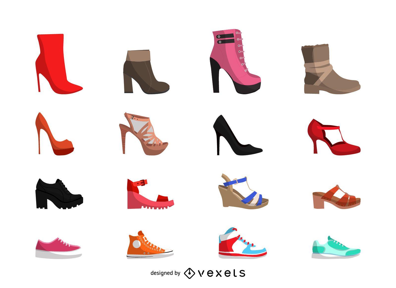 Conjunto de ilustração de sapatos femininos