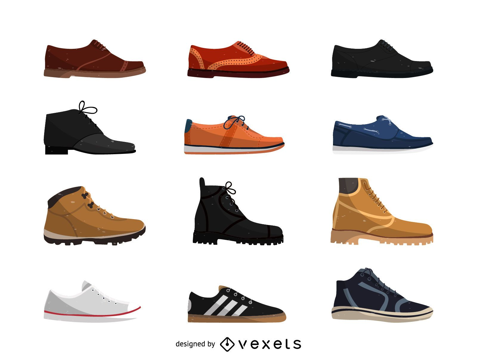 Conjunto de ilustração de calçados masculinos