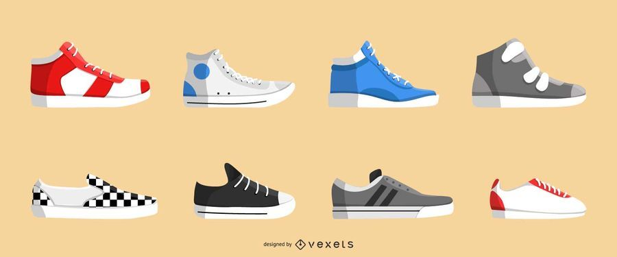 Realistic sneakers icon set
