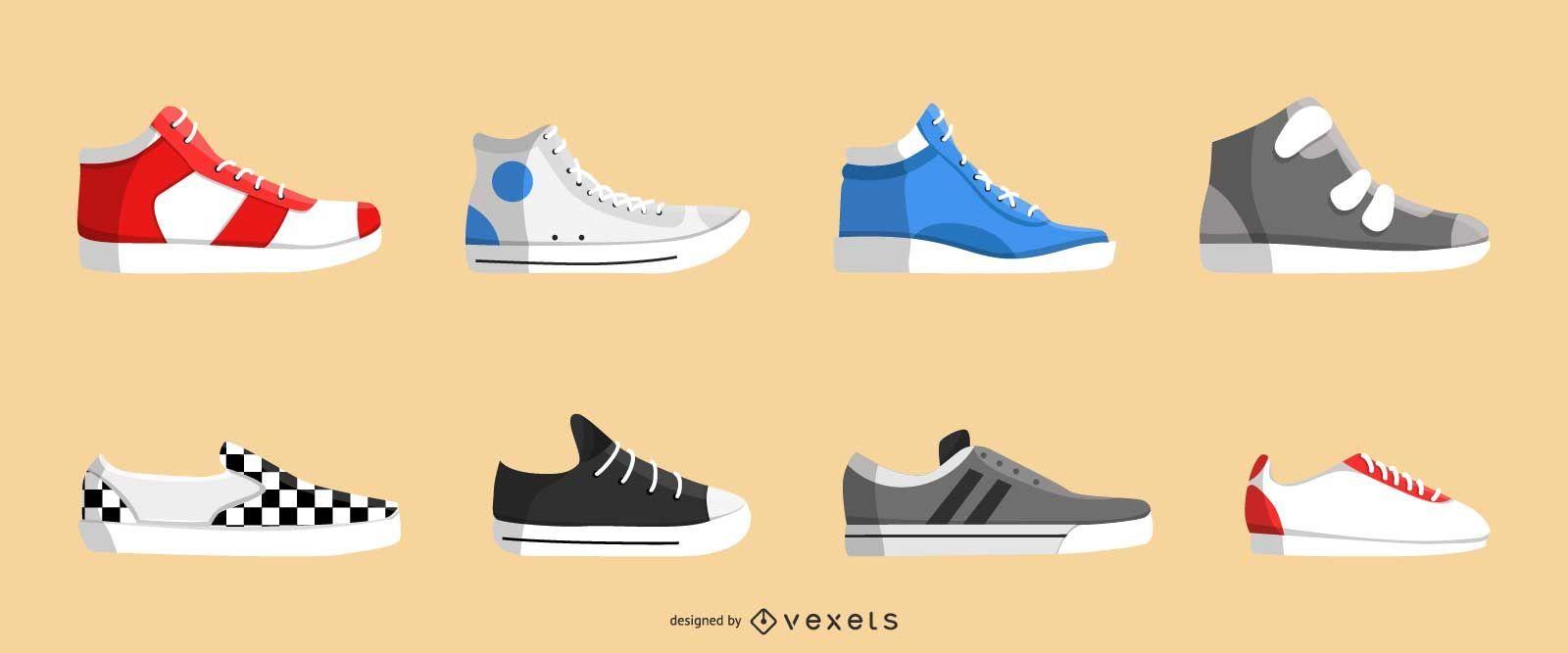 Realistic sneakers icon set