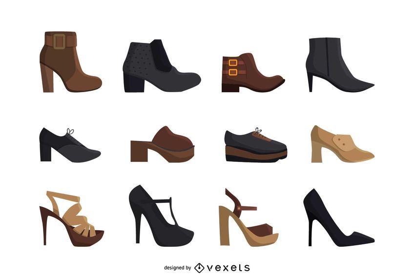 Conjunto de sapatos de salto alto de mulheres