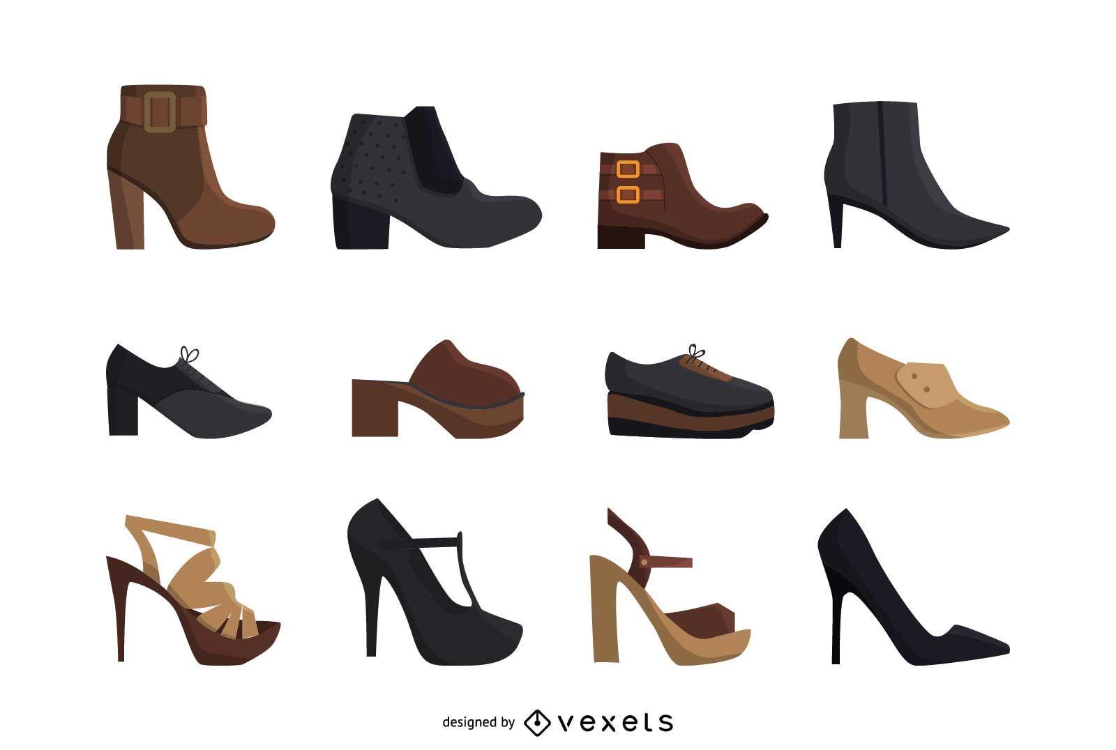 Conjunto de sapatos de salto alto feminino