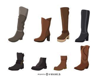 Conjunto de ilustração de botas de mulheres