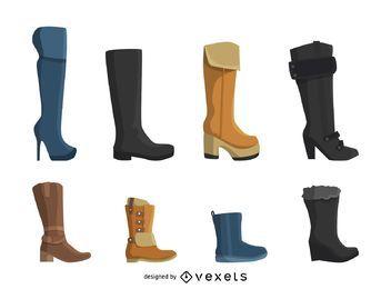 Conjunto de ícones de botas de mulheres