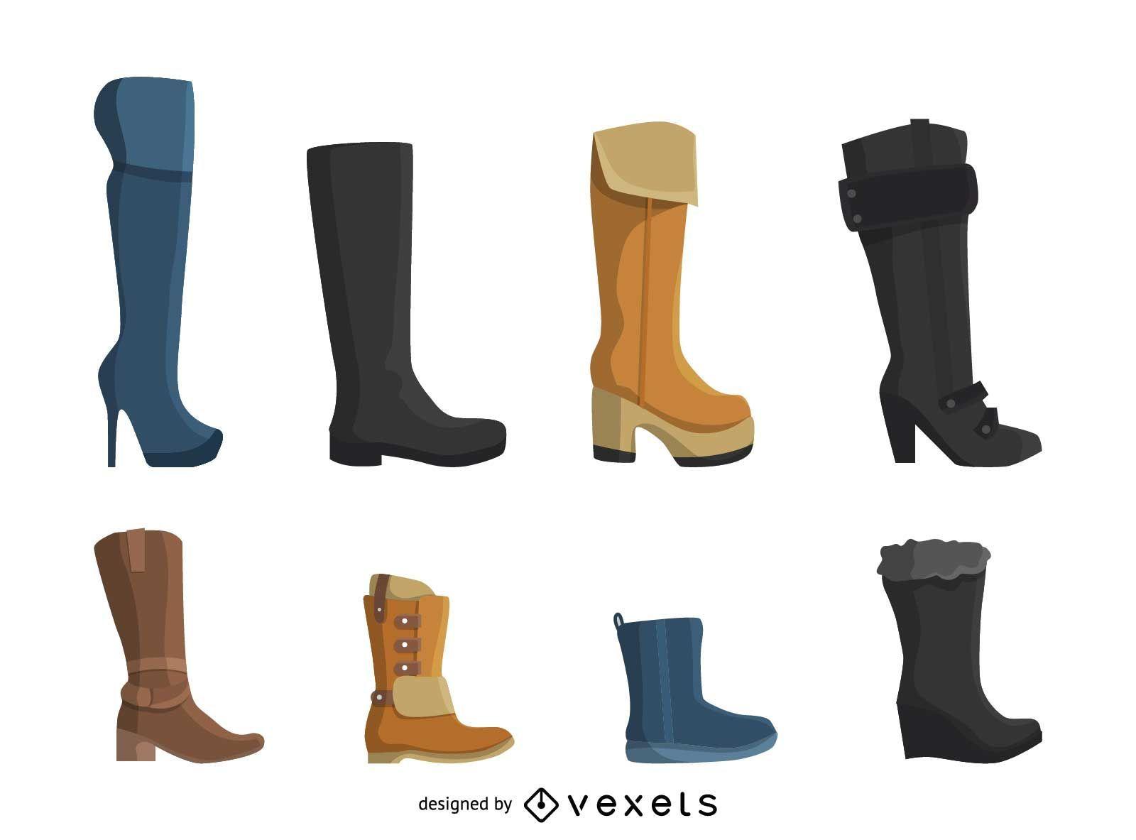 Conjunto de ícones de botas femininas