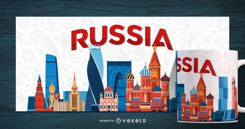 Impresión de taza de paisaje de la ciudad de Rusia