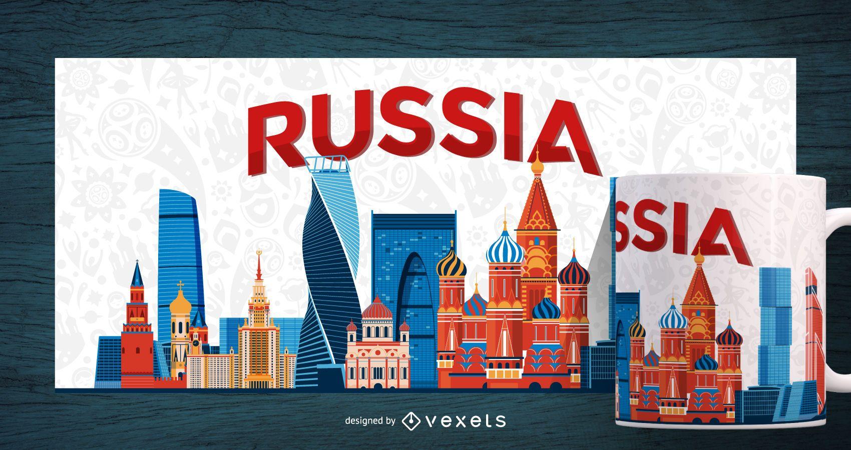 Impresi?n de taza de paisaje de la ciudad de Rusia