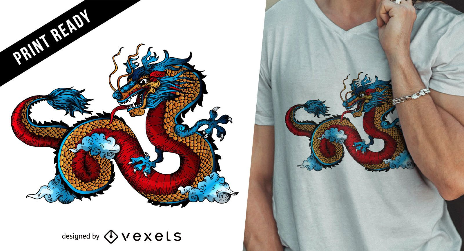 Diseño de camiseta de dragón chino.