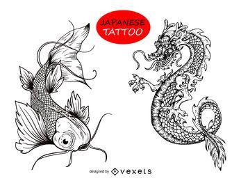 Desenho de tatuagem de peixe dragão japonês