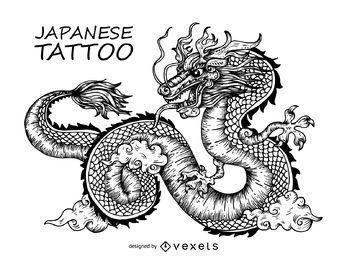 Desenho de tatuagem de dragão japonês